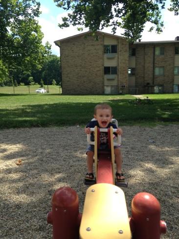 My son enjoying the playground at 1.5